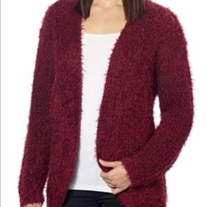 KENSIE | Fuzzy Teddy Bear Burgundy Sweater Large